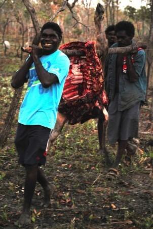 Samuel, Yangaykay and Dharrimba returning to Mapuru with fresh buffalo