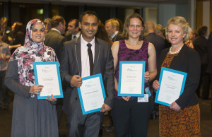 Group of Research Action Award winners - Farah Magrabi, Santosh Khanal, Anne Cust and Julie Leask