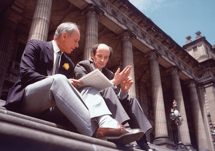 Nigel Gray (L) with Victorian Minister for Health David White, Parliament House, Melbourne, 1987.