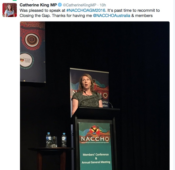 Catherine King, speaking today at NACCHO's annual general meeting