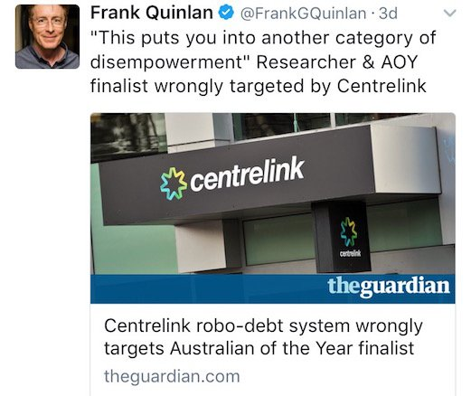 Why the Centrelink debt recovery programme is a health issue