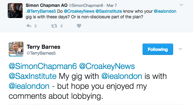 Simon Chapman asks Terry Barnes: why write for Croakey when your support lies with a right wing think tank?