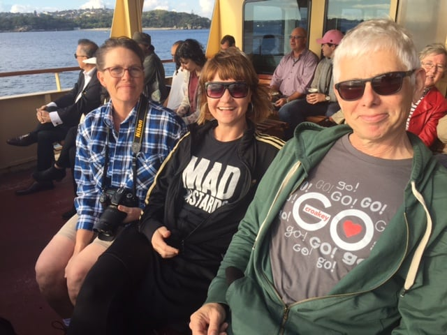 On the ferry to Manly: Molly Wagner, Megan Williams, Mitchell Ward