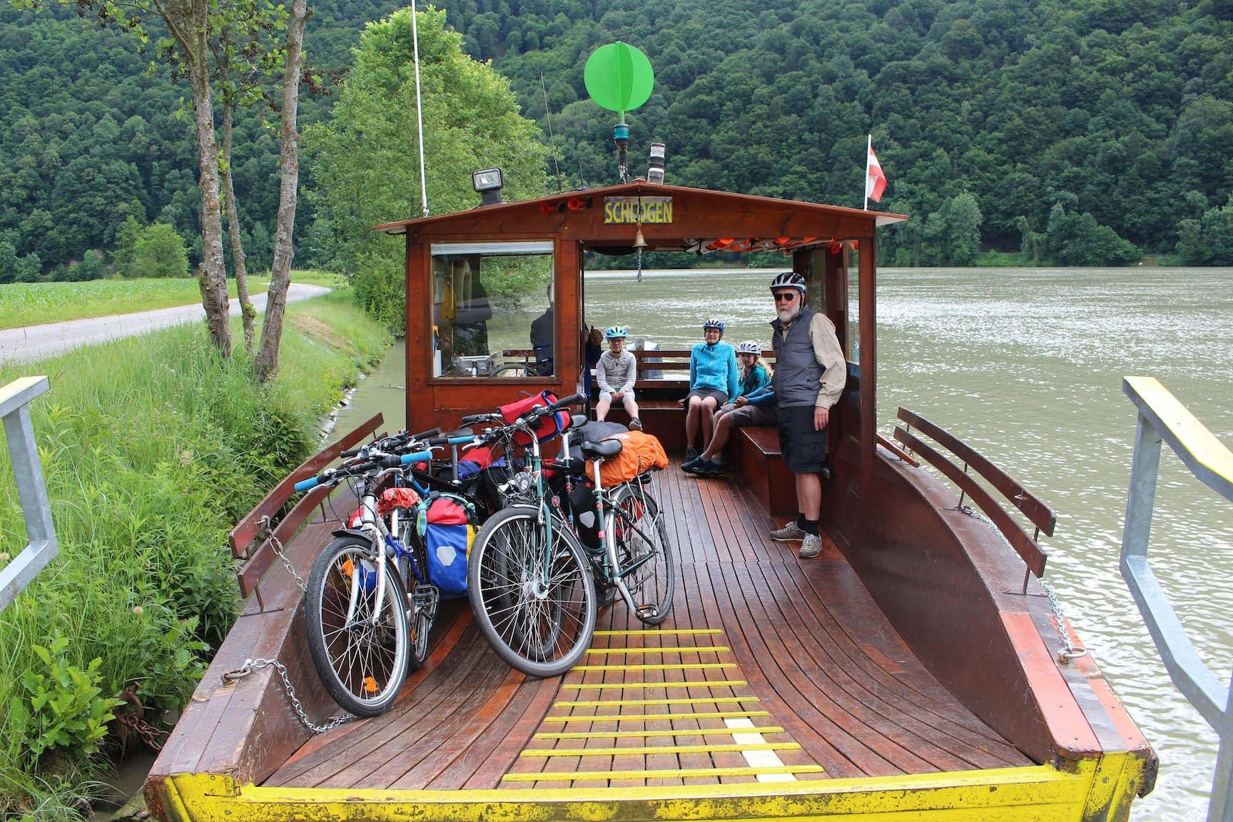 A bicycle ferry across the Danube