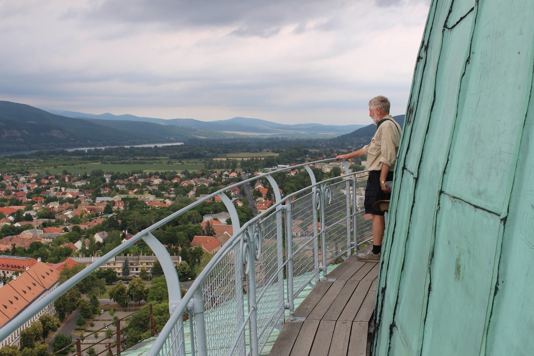The Danube, and the plains of Hungary and Slovakia, from the dome of Esztergom Cathedral