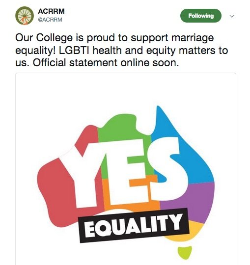 RACGP belatedly joins a long list of health and medical organisations supporting marriage equality