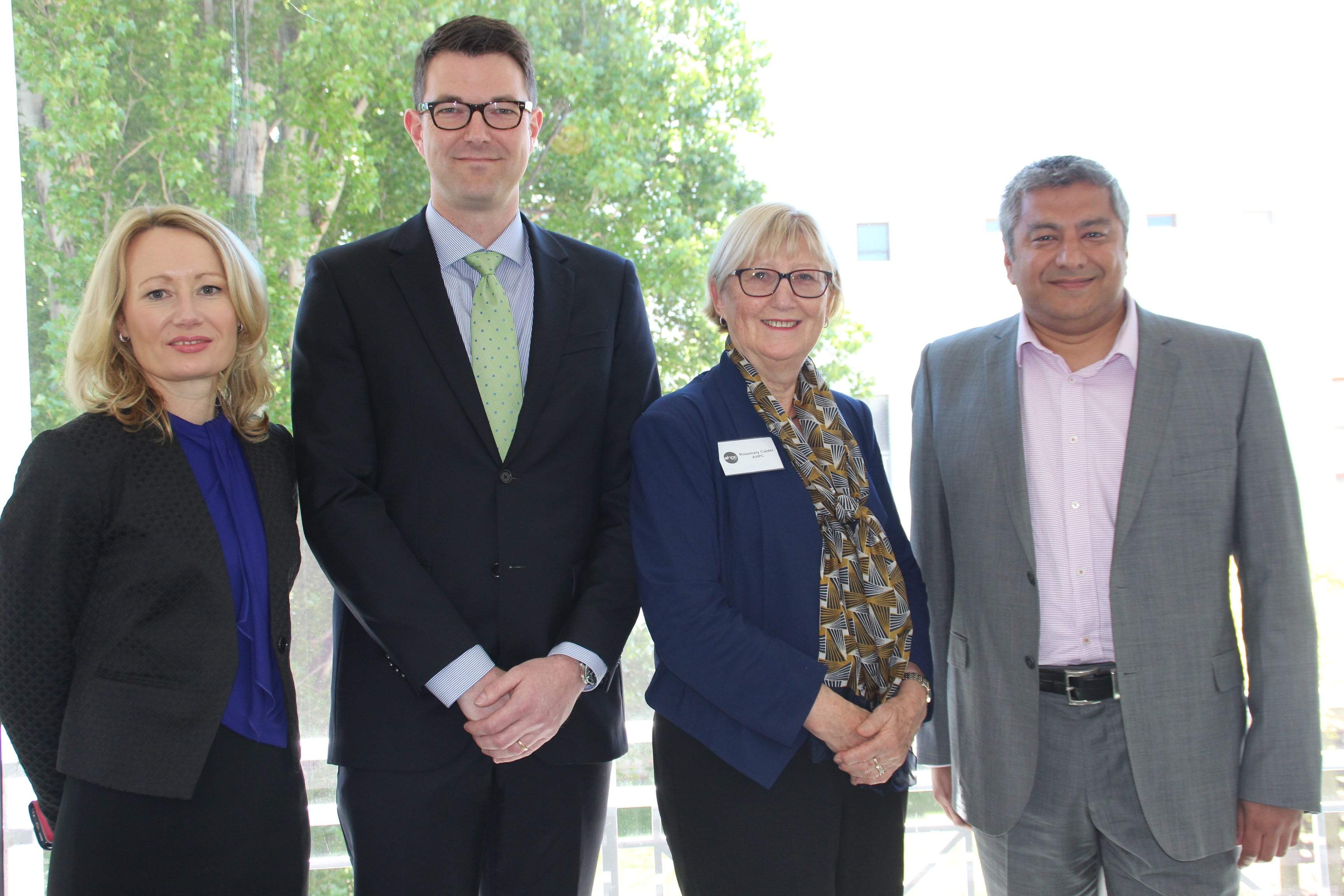 Sharon McGowan, chief executive officer of Stroke Foundation; Dr Bastian Seidel president of the Royal Australian College of General Practice; Professor Rosemary Calder, Director of the Australian Health Policy Collaboration and Dr Paresh Dawda, GP, Regional Medical Director, Ochre Health & Adjunct Associate Professor, University of Canberra, at the launch of Heart Health