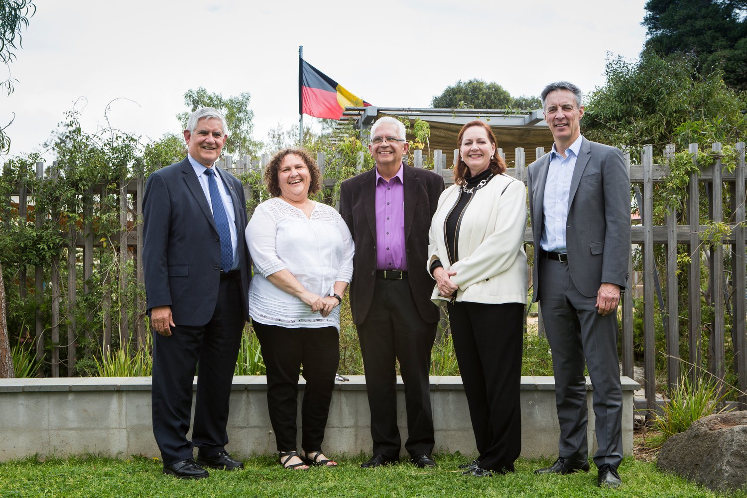 Minister Ken Wyatt AO, Bubup Wilam CEO, Lisa Thorpe; Bubup Wilam President, Tony McCartney; EMPHN CEO, Robin Whyte; and EMPHN Chair Jim Swinden at the funding launch