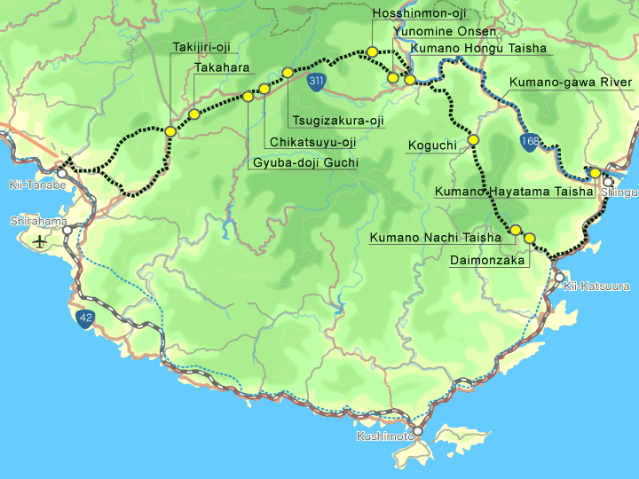 Map of the Nakahechi-do trail on the Kii Peninsula, south of Kyoto and Osaka