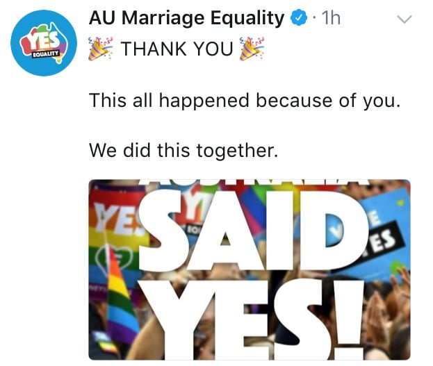 It's a yes! Now let's put the love in to marriage equality legislation