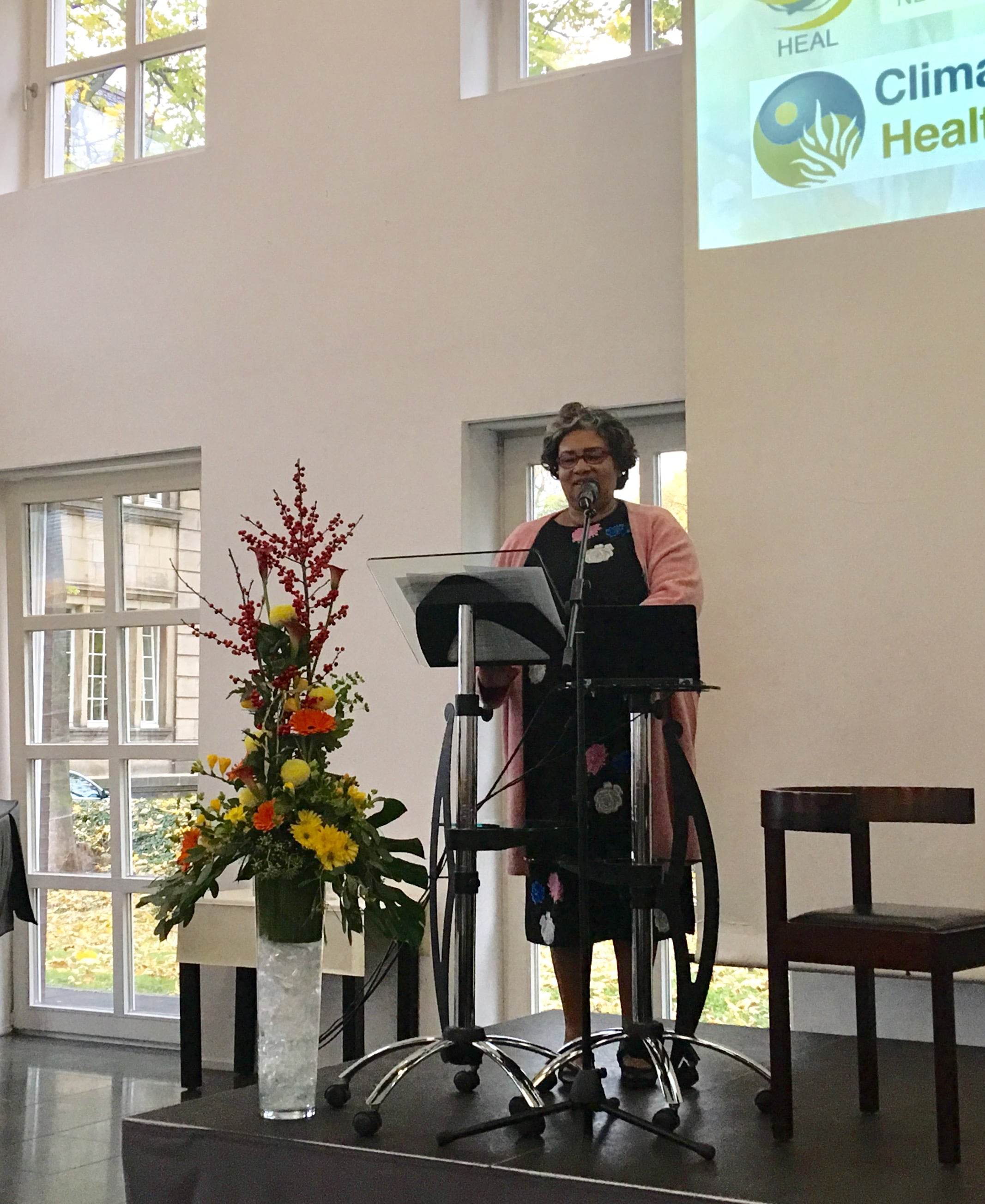 The new WHO Assistant Director-General for Climate Change and Other Determinants of Health, Dr Joy St John, addressing the Climate and Health Summit