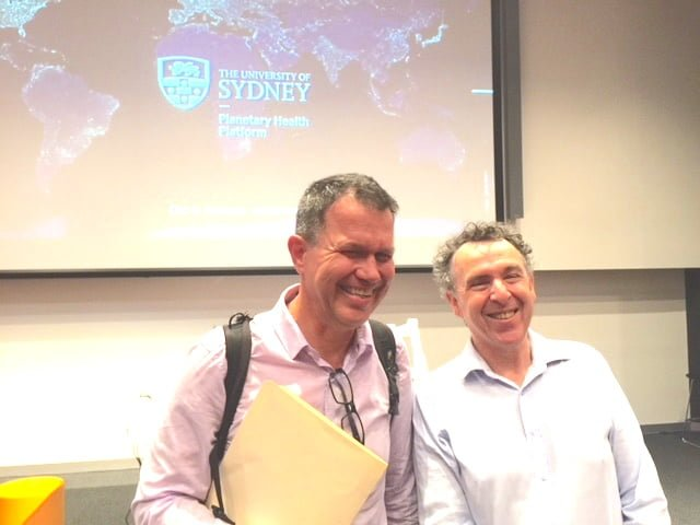 Professor Colin Butler (R) with Professor Tony Capon at launch of University of Sydney Planetary Health Platform