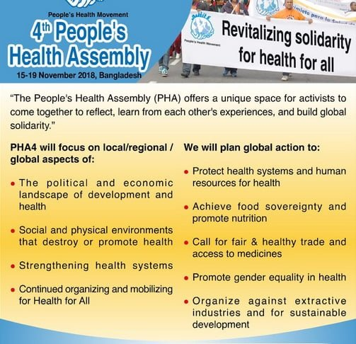 Please support this crowdfunding campaign. We want to bring you news from 4th Peoples Health Assembly