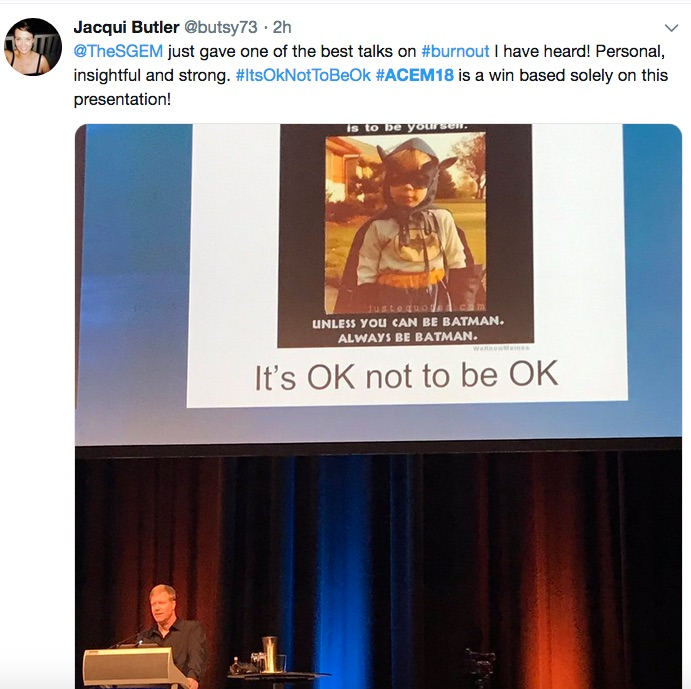 Holy Smokes! This is one sick system – talking burnout, at #ACEM18