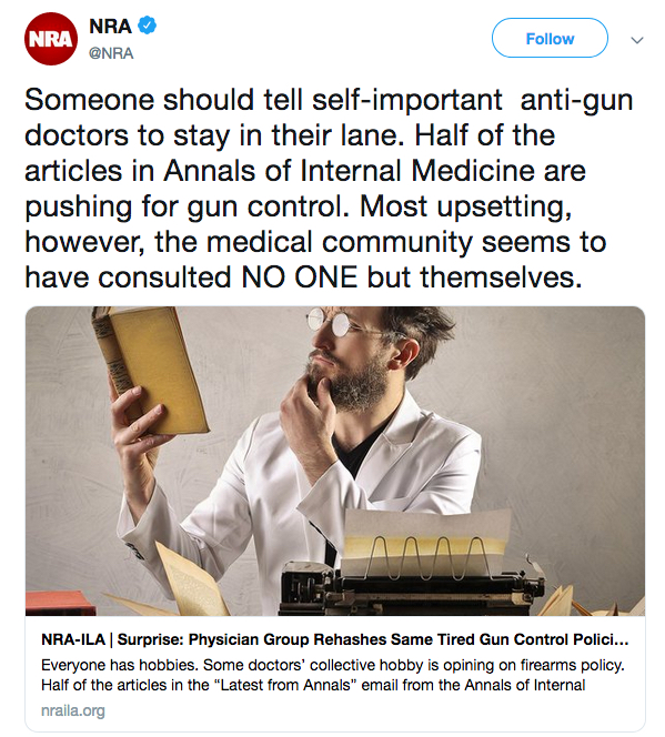 #ThisIsOurLane - doctors hit back at NRA over gun violence