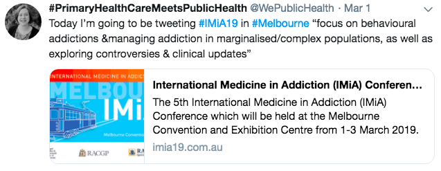 Liz also live-tweeted from the International Medicine in Addiction  conference in Melbourne (1-3 March) 2642fca76