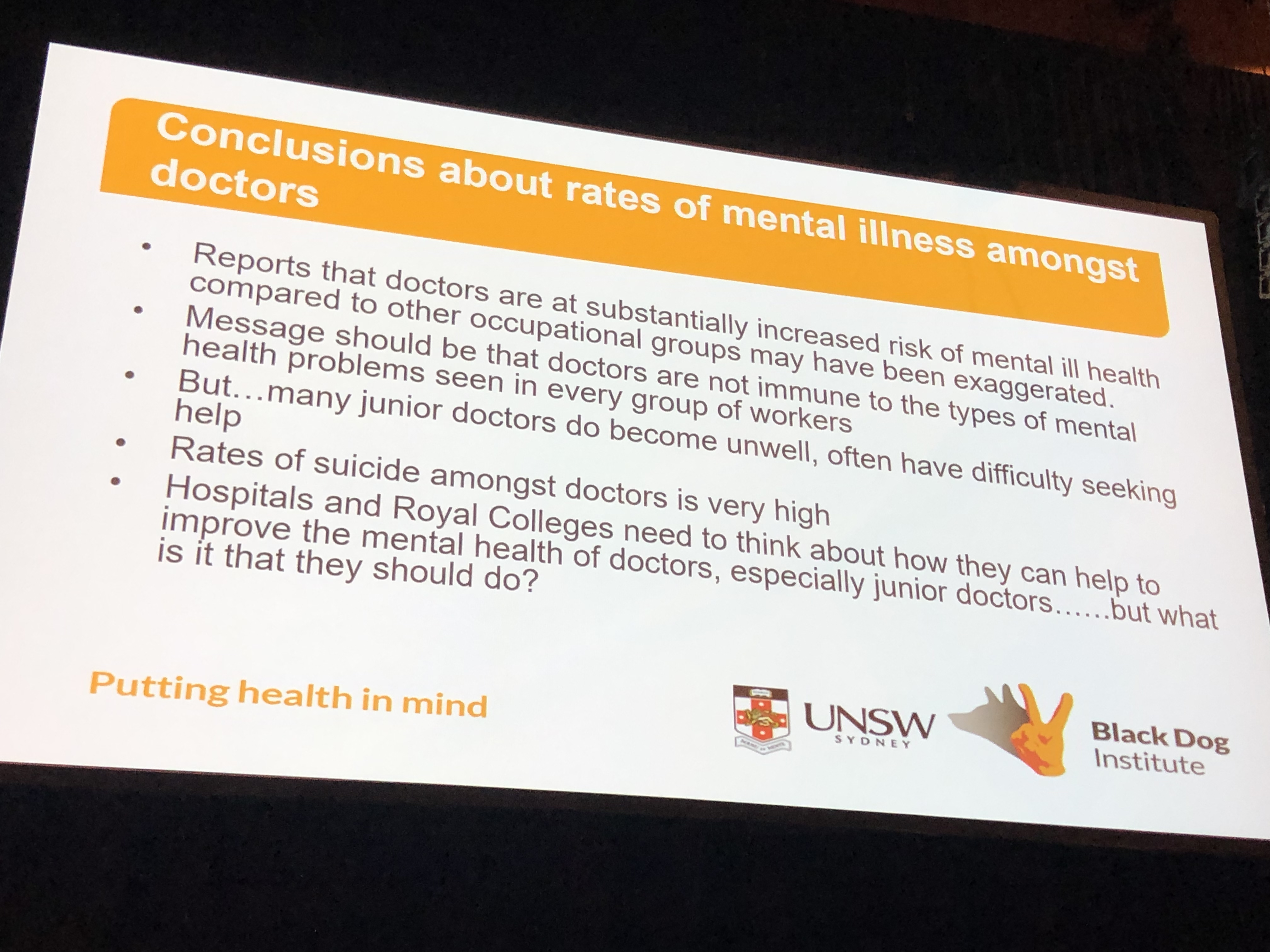 Data and drivers of doctors' mental health -- burnout and #MH4Docs at #RANZCP2019